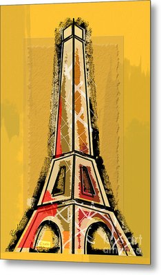 Eiffel Tower Yellow And Red Metal Print by Robyn Saunders