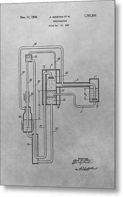 Einstein Refrigerator Patent Drawing Metal Print by Dan Sproul