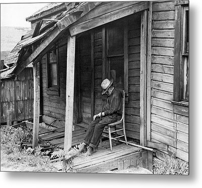 Elderly Man Doses On His Porch Metal Print by Underwood Archives