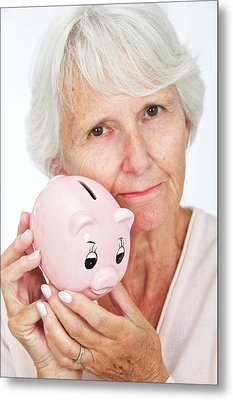 Elderly Woman With A Piggy Bank Metal Print by Lea Paterson