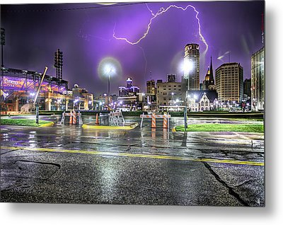 Electric Detroit  Metal Print by Nicholas  Grunas