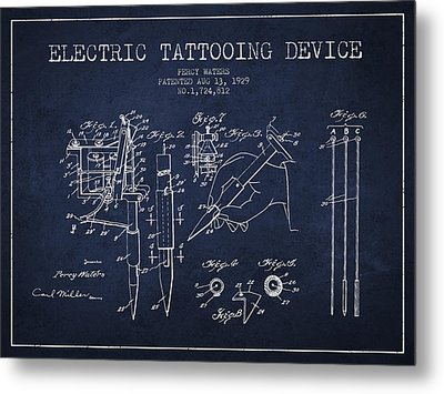 Electric Tattooing Device Patent From 1929 - Navy Blue Metal Print by Aged Pixel