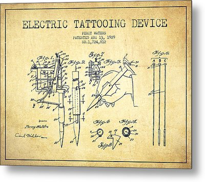 Electric Tattooing Device Patent From 1929 - Vintage Metal Print by Aged Pixel