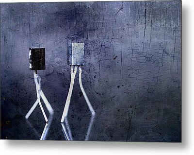 Electrical Circuits In Blue Tone Metal Print by Toppart Sweden