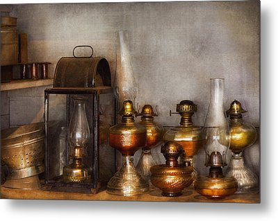 Electrician - A Collection Of Oil Lanterns  Metal Print by Mike Savad