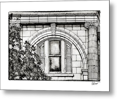 Elegance In The French Quarter In Black And White Metal Print by Brenda Bryant