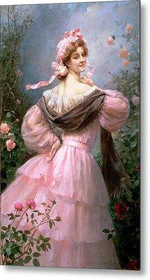 Elegant Woman In A Rose Garden Metal Print by Felix Hippolyte-Lucas