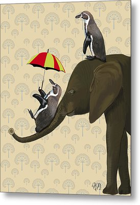 Elephant And Penguins Metal Print by Kelly McLaughlan