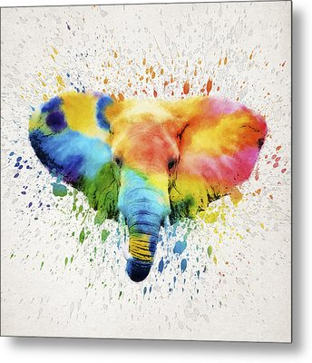 Elephant Splash Metal Print by Aged Pixel