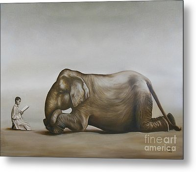 Elephant Taming Metal Print by Tia