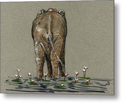 Elephant With Water Lilies Metal Print by Juan  Bosco