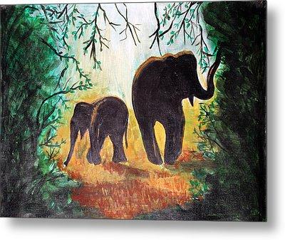 Elephants At Night Metal Print by Saranya Haridasan