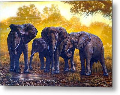 Elephants Metal Print by Larry Taugher