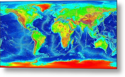 Elevation Map Of The World Metal Print by Sebastian Musial