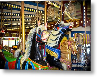 Elizabeth And Friends- Carousel Ponies Metal Print by Colleen Kammerer