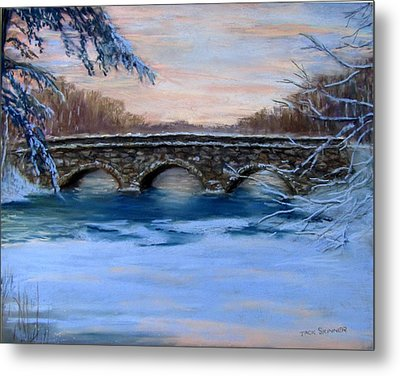 Elm Street Bridge On A Winter's Morn Metal Print by Jack Skinner