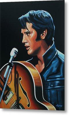 Elvis Presley 3 Painting Metal Print by Paul Meijering