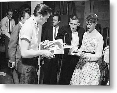 Elvis Presley Backstage Signing Autographs For Fans 1956 Metal Print by The Phillip Harrington Collection