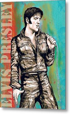 Elvis Presley - Modern Art Drawing Poster Metal Print by Kim Wang