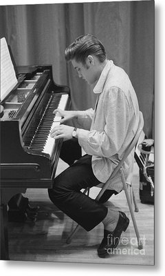 Elvis Presley On Piano While Waiting For A Show To Start 1956 Metal Print by The Harrington Collection