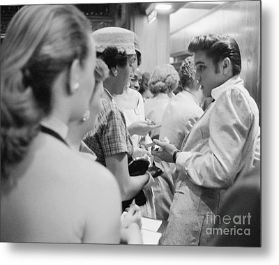 Elvis Presley Signing Autographs At The Fox Theater 1956 Metal Print by The Phillip Harrington Collection