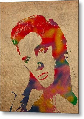 Elvis Presley Watercolor Portrait On Worn Distressed Canvas Metal Print by Design Turnpike