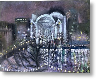 Embankment Station, From The South Bank, 1995 Pastel On Paper Metal Print by Sophia Elliot