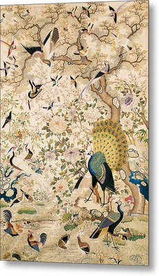 Embroidered Panel With A Pair Of Peacocks And Numerous Other Birds Metal Print by Chinese School