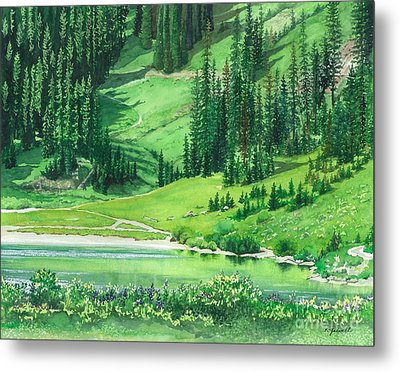 Emerald Lake Metal Print by Barbara Jewell