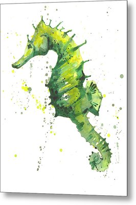 Emerald Seahorse Metal Print by Alison Fennell