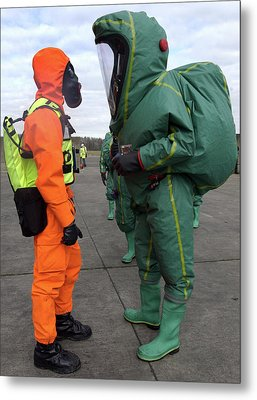 Emergency Response Protection Suits Metal Print by Public Health England