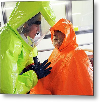 Emergency Response Worker And Casualty Metal Print by Public Health England