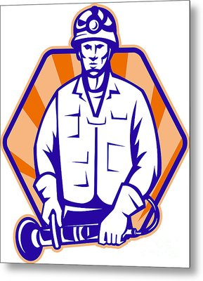 Emergency Worker With Angle Grinder Tool Retro Metal Print by Aloysius Patrimonio