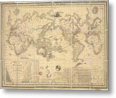 Emigration Map Of The World Metal Print by British Library