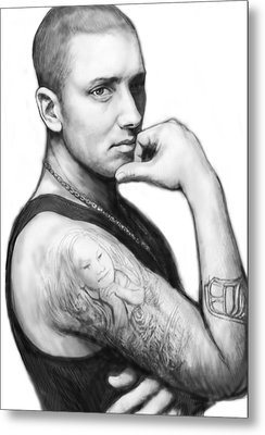 Eminem Art Drawing Sketch Portrait Metal Print by Kim Wang