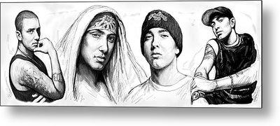 Eminem Art Drawing Sketch Poster Metal Print by Kim Wang