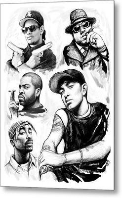 Eminem With Rap Stars Art Drawing Sketch Portrait Metal Print by Kim Wang