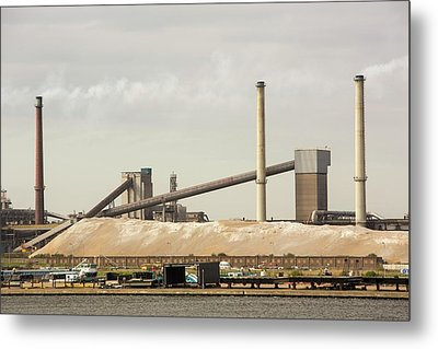 Emissions From A Steel Works Metal Print by Ashley Cooper