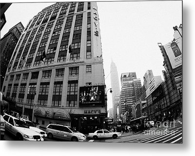 Empire State Building Shrouded In Mist As Yellow Cabs Crossing Crosswalk On 7th Ave And 34th Street Metal Print by Joe Fox