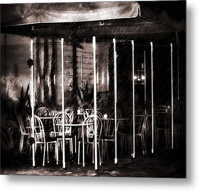Empty Chairs And Empty Tables - Soft Sepia Vintage Metal Print by Georgiana Romanovna
