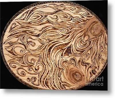 Energy Abstract Oval Pyrography Wood Burning Metal Print by Ray B