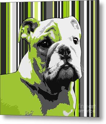 English Bulldog Puppy Abstract Metal Print by Natalie Kinnear