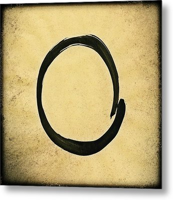 Enso #4 - Zen Circle Abstract Sand And Black Metal Print by Marianna Mills