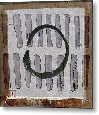 Enso Circle On Japanese Papers Metal Print by Carol Leigh