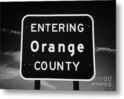 Entering Orange County Near Orlando Florida Usa Metal Print by Joe Fox