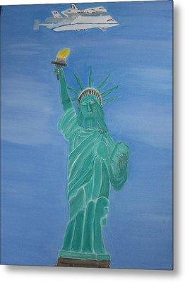 Enterprise On Statue Of Liberty Metal Print by Vandna Mehta