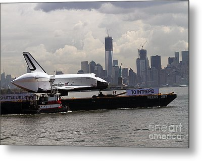 Enterprise To The Intrepid Air And Space Museum Metal Print by Steven Spak