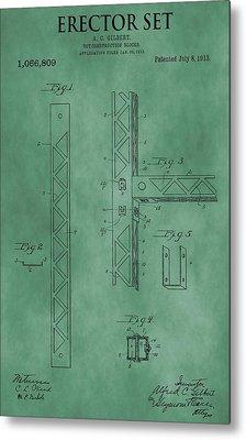 Erector Set Patent Green Metal Print by Dan Sproul