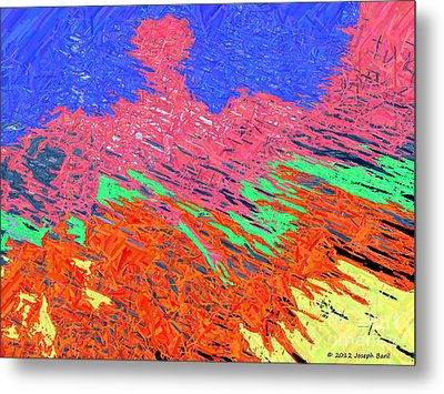 Erupting Lava Meets The Sea Metal Print by Joseph Baril
