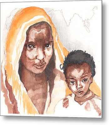 Ethiopean Mother And Child Metal Print by Nancy Watson
